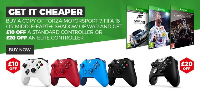 GET IT CHEPER, Buy a Copy of Forza Motorsport 7, FIFA 18 or Middle-earth: Shadow of War and Get £10 Off a Standard Controller or £20 Off an Elite Controller BUY NOW >