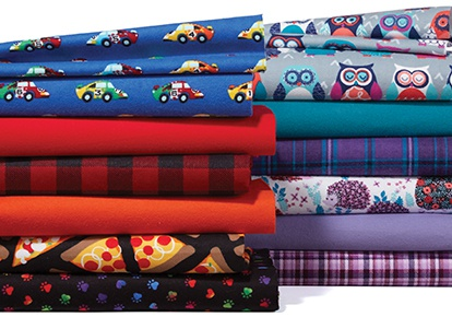 Cozy Flannel Solids and Snuggle Flannel Prints.