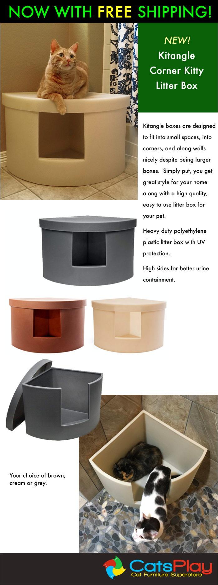 new sleek space saving kitangle corner cat litter box