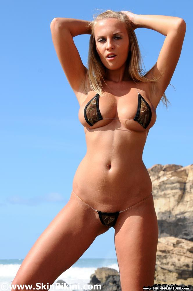 String bikini babe undressing