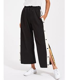 Contrast Snap Button Side Culotte Pants