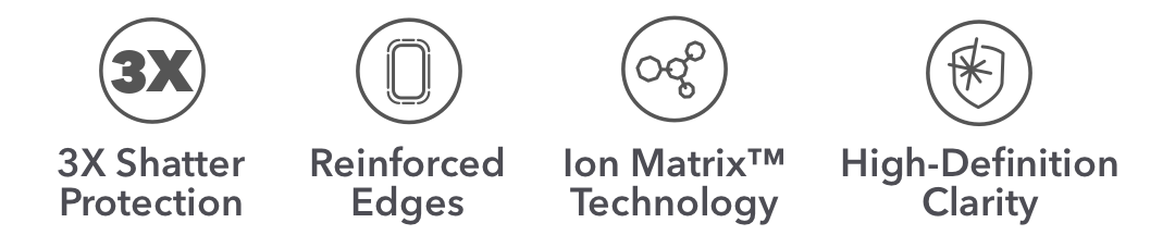3x Shatter Protection | Reinforced Edges | Ion Matrix Technology |