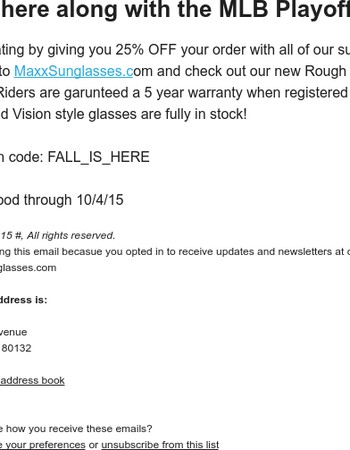 25% Off your purchase at MaxxSunglasses.com
