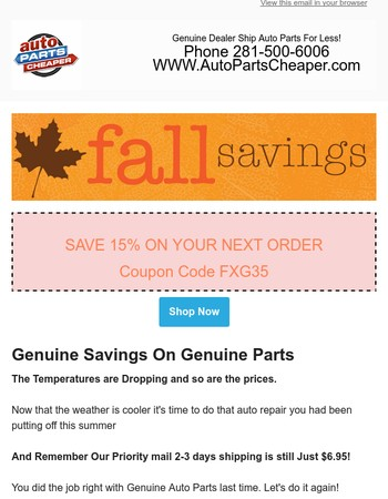 Coupon Code Inside Save 15% This Weekend Only
