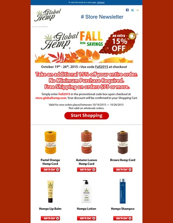Fall into Savings - Extra 15% off for 3 more days!