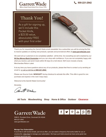 Thank You For Requesting Our Email Newsletter