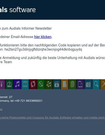 Bitte bestätige deine Anmeldung zum Audials Informer Newsletter
