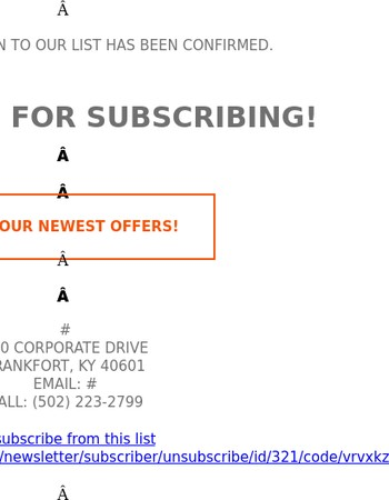Thank you for subscribing to our newsletter!