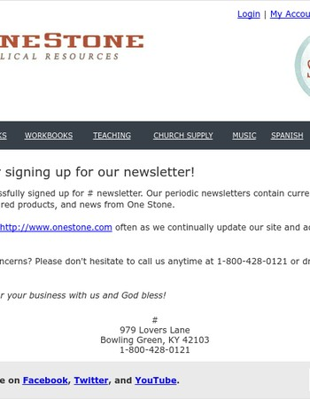 Thanks for Subscribing to One Stone's Newsletter!