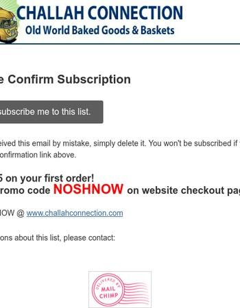 Challah Connection: Please Confirm Subscription