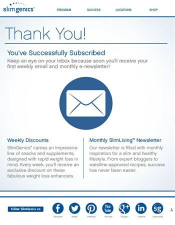 Thank You for Subscribing to SlimGenics
