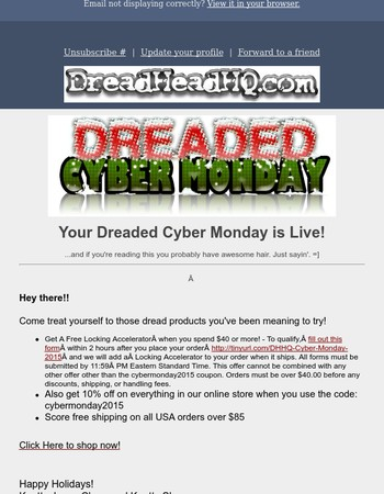 DreadHead Dreaded CyberMonday - IS LIVE - great deals await!