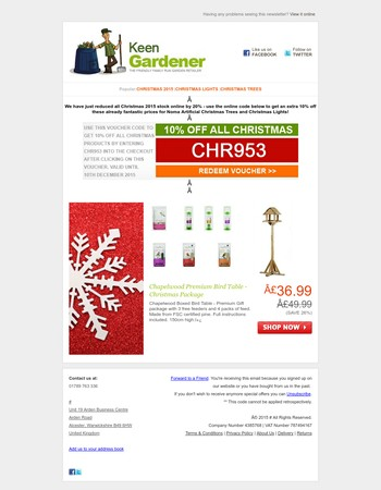 20% Price Decrease and Extra 10% Off all Christmas Lights & Trees at Keen Gardener
