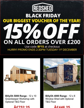 HURRY❗Black Friday BIGGEST VOUCHER of the Year: 15% Off on orders over £200❗
