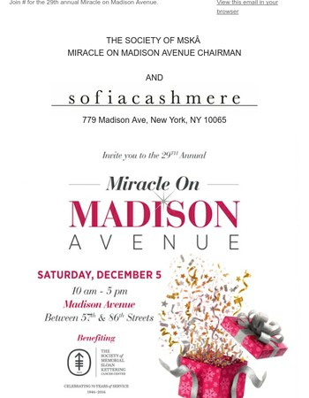 You're invited to the 29th annual Miracle on Madison Avenue