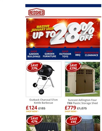 ❗ICYMI:Massive January Sale: Save up to 28% on Sheds & more