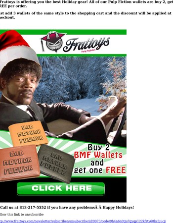 Buy 2, get 1 FREE Pulp Fiction wallet on Frattoys.com