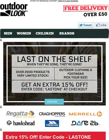 Last On The Shelf - Extra 15% Off - Warehouse Clearance | When It's Gone It's Gone.
