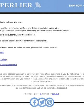 Please confirm Perlier newsletter subscription