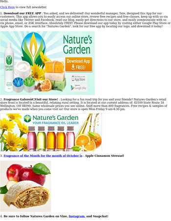 Natures Garden October 2016 Newsletter