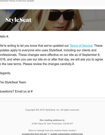 StyleSeat Terms of Service Update