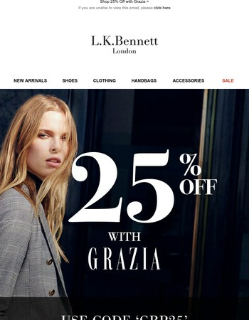 Your New Favourites + 25% off with Grazia