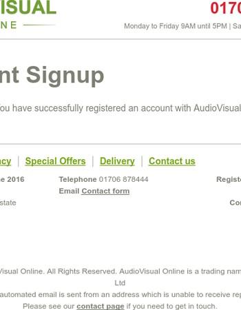 AudioVisual Online - New Account