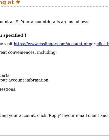 Thanks for Registering at Esslinger.com