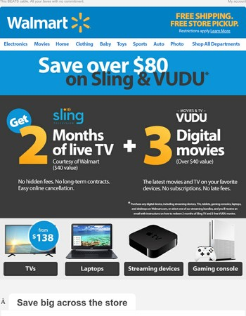 TVs from $138. Plus an $80 offer. WOW!
