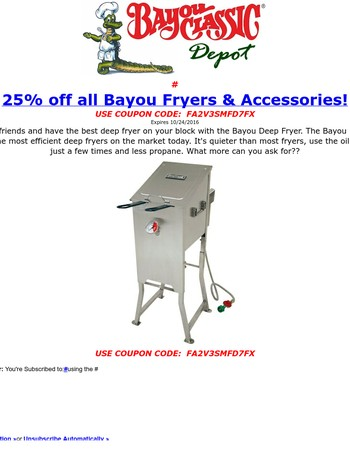 25% off Bayou Classic Bayou Fryer