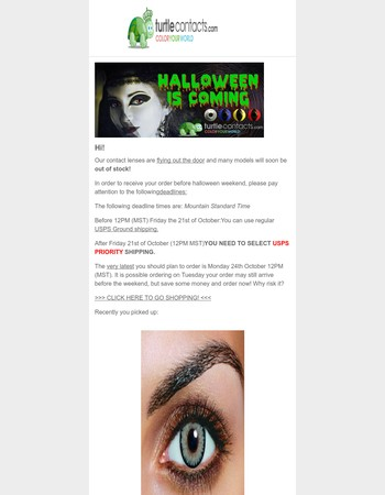 [IMPORTANT]: Halloween shipping DEADLINES