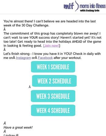 Your Week 4 Calendar   30 Day Challenge