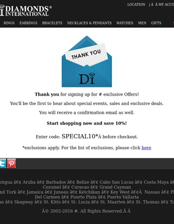 Diamonds International: Thank you for subscribing