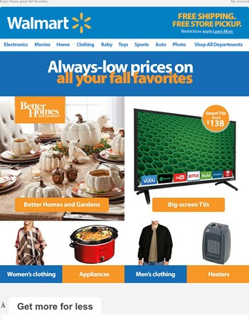 Save BIG: Smart TVs from $138, clothing, appliances & more