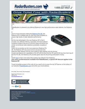 Radenso's brand new XP Radar Detector