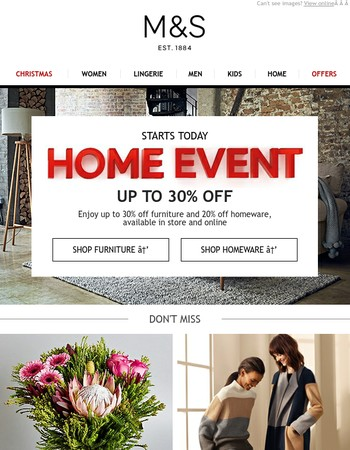 The M&S Home Event starts today!