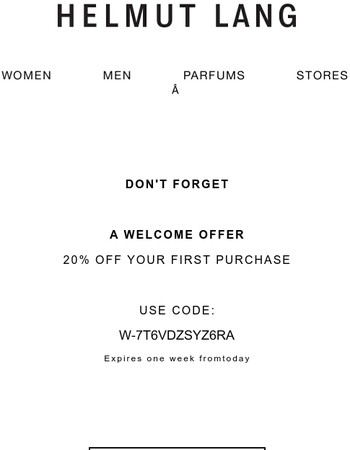 Don't Forget! 20% off your first purchase