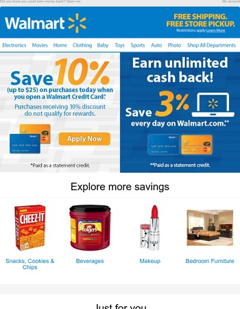 Save 10% today when you open a Walmart Credit Card