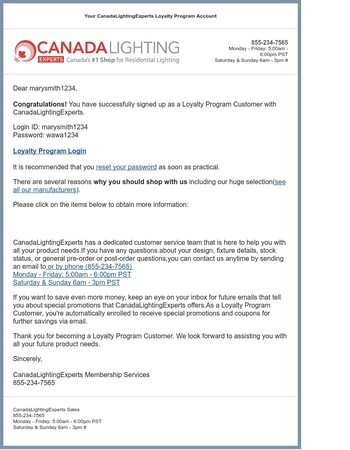 Your CanadaLightingExperts Loyalty Program Account
