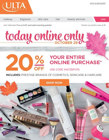 20% Off Online Today! Valid on Urban Decay & Many More