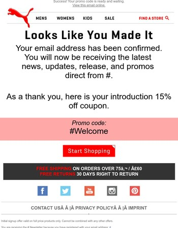 You're In - Promo Code Enclosed
