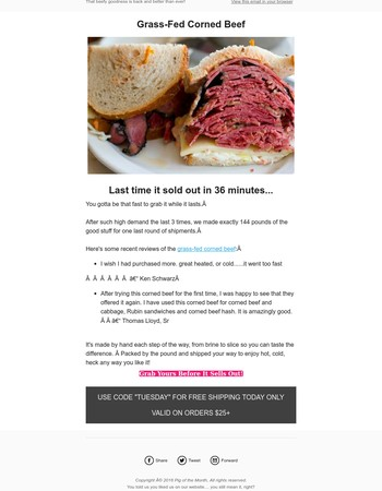 Last Call:  144 Pounds of Corned Beef & It ships free!