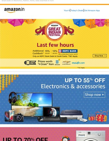 Last few hours | Additional 15% cashback on app & 10% on site using HDFC Bank cards*