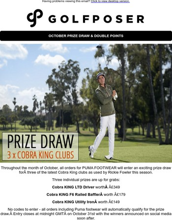 Cobra Prize Draw & Double Points Month