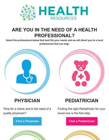 It's Not Easy To Find a Good Health Professional...Let Us Help!