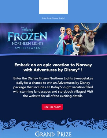 An Adventures by Disney Vacation Not to be Missed! Enter the Disney Frozen Northern Lights Sweepstakes Now!
