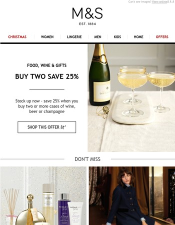 Save 25% on wine, beer and Champagne