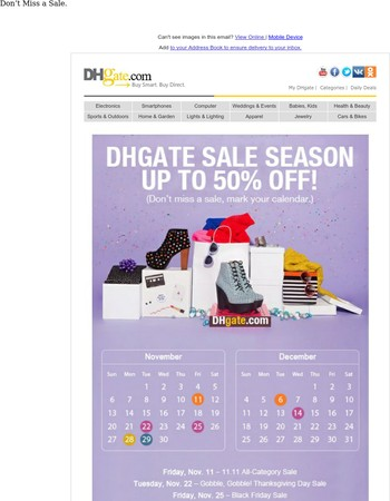 Save Now! DHgate Sale Season - Up To 50% OFF!