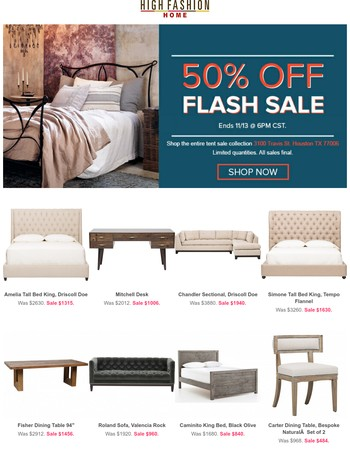 Huge Furniture Savings! 50% OFF Flash Sale!