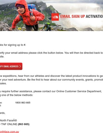 The North Face Australia. Email validation